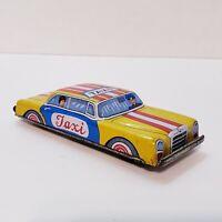 50s Vintage Tin Toy Nakamura Japan Japanese Litho Yellow Taxi Cab Original Rare