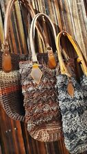 Set of 6 Wholesale Woven Handmade Handbag Bag w/Zipper Brown Maroon Cream Orange