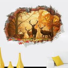 3D Broken Wall Elk Forest Living Room Background Wall Decoration Wall Sticker