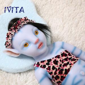 18'' Avatar Soft Silicone Reborn Doll Baby Amber Eyes Black Hair Girl Infant