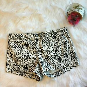 J Crew Factory Stretch Black White Paisley Floral Chino Shorts Womens 6 Casual