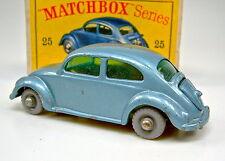 "Matchbox RW 25b VW 1200 escarabajo azul metalizado medianas grises ruedas en ""d"" box"