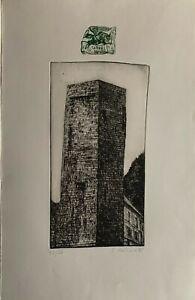 Giuliano Collina incisione acquaforte La Torre di San Vitale 1997 70x50 firmata