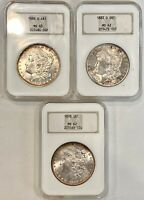 3- NGC- BRILLIANT UNCIRCULATED, MORGAN SILVER DOLLARS, SEE OTHER COINS & GOLD