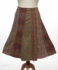 Una Falda Tweed Patchwork tartan Per comprobar Raw Edge Flippy faldón de encaje 10 en capas