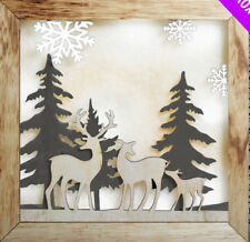 Large Winter Christmas Scene Illuminated LED Wooden Reindeer Family & Trees 30cm