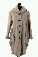 "NEW LaGeNLooK ""80%WOOL"" HOODED Quirky JACKET/COAT,RAW OUTER SEAMS pockets,button"