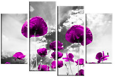 PURPLE POPPIES ON GREY FLORAL CANVAS PICTURE 4 PANEL SPLIT WALL ART MULTI 100cm