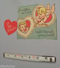 Vtg Valentine Card Cupid Boy Girl Dart Through Your Heart 30's Unused