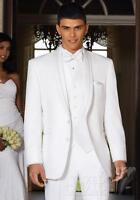 White Groom Tuxedos Suit Bridegroom Notch Lapel Groomsmen Best Man Office Men