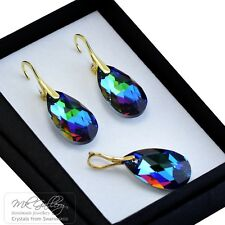 Gold Plated Silver Earrings/Set 22mm Pear Crystals from Swarovski® Meridian Blue