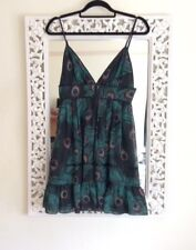 Asos Black and Green Peacock Print Mini Dress, UK Size 10 Immaculate