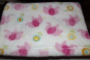 """Little Miricles Baby Blanket 32""""x45"""" White/Pink Elephants&Yellow/Blue Flowers"""