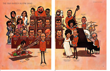 1969 PLAYBOY ALL-STAR BAND ~ ORIGINAL 2-PAGE CARTOON PICTORIAL