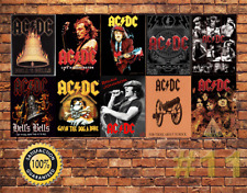 Job Lot 10 x METAL TIN SIGN WALL PLAQUE  AC/DC ROCK BAND COLLECTION #1