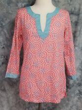 Vineyard Vines Womens sz S Pink Blue Starfish Seashell 3/4 Sleeve Top