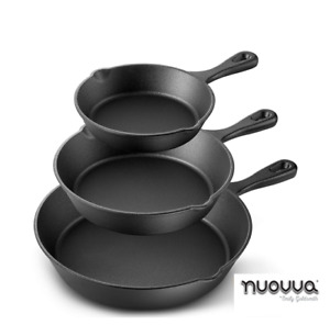 3Pcs Set CAST IRON Non-Stick Frying Griddle Pan Barbecue Grill Fry BBQ Skillet