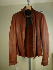 Carpe Diem Leather Shirt Brown size2 Good Condition POELL