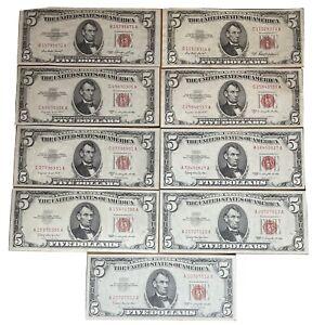 (9)1953/1963 $5 Lincoln United States Notes Crisp CU