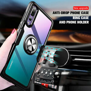 Clear Acrylic Magnetic Ring Holder Case Cover for Huawei P20 P30 Pro/Lite PSmart