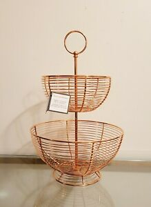 Williams Sonoma Tiered Copper Wire Fruit Basket NEW