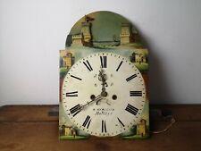 rare mouvement d horloge de parquet anglais 19ème cadrant a système date-seconde