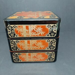Vintage Three Layer Stacking Japanese Red Lacquer Box Trinket Jewelry Keeper