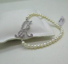 Bracciale lettera A in argento, zirconi, elastico e perle Venerio