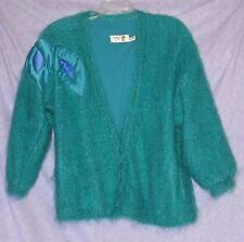 Vtg 50's VERY FUZZY Mohair Mary Smyth Cardigan Teal Green Sweater Made Ireland M