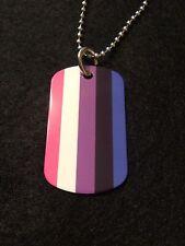 """Rainbow Gay/Lesbian """"Gender Fluid"""" Pride Flag 2-Sided Dog Tag Necklace/Keychain"""