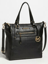 NWT MICHAEL KORS Gilmore Large Black Leather Tote/Gold Logo Bag Crossbody Purse