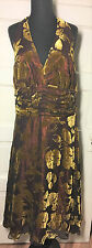 Signature Robbie Bee Brown Velvet Burnout w/ Copper Lining Halter Dress sz14W