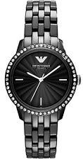 NEW EMPORIO ARMANI WOMEN AR1478 BLACK CERAMIC WATCH, COA- 2 Y. WARRANTY RRP £399