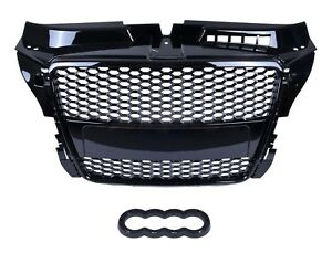 AUDI A3 S3 8P 2008-2012 RS STYLE GLOSS BLACK HONEYCOMB RADIATOR BUMPER GRILLE