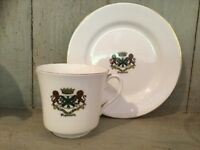 COLLECTABLE ARCADIAN CHINA CRESTED CUP & PLATE STAMPED PLYMOUTH