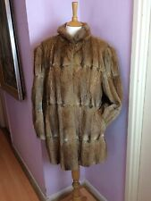 VINTAGE FOX FUR JACKET COAT RED HONEY COLOUR PUFF SLEEVES LADIES SIZE 16