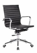 Classic ribbed mid back chair BLACK PU Leather with protective arm sleeves