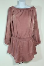 New Small Blush Pink Satin Off Shoulder Soft Shorts Romper One Piece Valentine