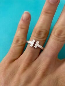 Tiffany & Co Sterling Silver T Square Band Ring. Size 5.5 RRP $765
