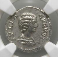 Julia Domna AR Denarius (204 AD), Pietas, Certified NGC XF