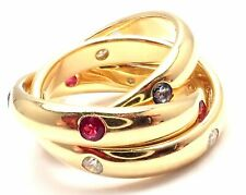 Authentic! Cartier 18k Yellow Gold Ruby Sapphire Diamond Trinity Band Ring
