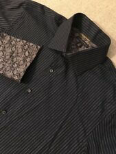 Banana Republic Men's Dress Shirt  Navy 17-17.5 -XL French Cuff Stripe Shirt #D7