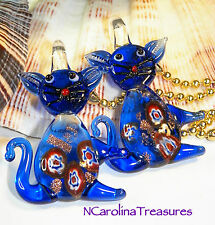 PURRRTY BLUE CAT CATS MURANO GLASS CEILING FAN CHAIN LIGHT SWITCH PULLS LARGE PR