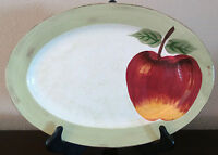"Cambridge Potteries Hand Painted Apple Sauce 14"" Oval Platter Green Trim Apple"