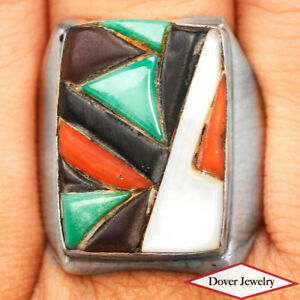 Pearl Turquoise Coral Black Onyx Inlay Sterling Silver Ring 16.6 Gr NR