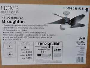 Broughton 42'' LED Brushed Nickel Ceiling Fan w/ Remote Control by HDC
