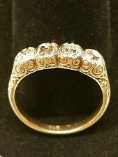 Antique European cut four stone diamond wedding band 1.75 ctw vs i
