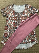 Lularoe Paisley Classic Floral T XS & Solid Pink OS Leggings American Summer