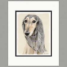 Saluki Dog Fawn Original Art Print 8x10 Matted to 11x14