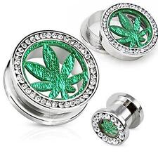 "Leaf Gemmed Rim 1/2"" [Jewelry] Surgical Steel Screw Fit Tunnel Pot"